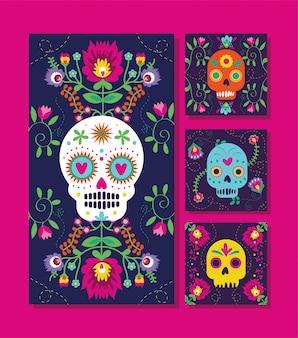 Cartões de dia de muertos com caveiras e flores