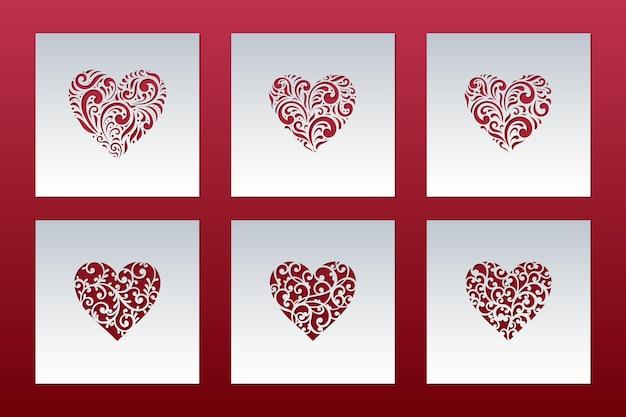 Cartões de dia dos namorados com corações de padrão de renda, modelos de corte a laser.