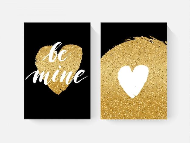 Cartões de dia dos namorados com detalhes de glitter dourado e lettring de mão