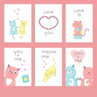 Cartões de dia dos namorados com gatos no amor, corações, letras de texto de caligrafia. vetorial mão ilustrações desenhadas.