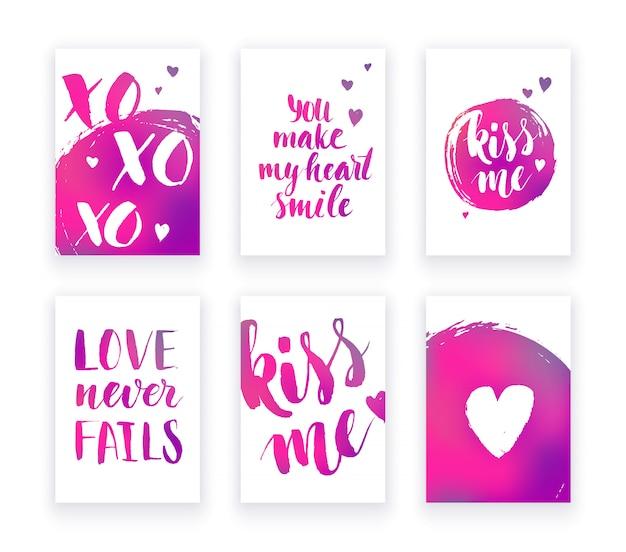 Cartões de dia dos namorados com mão lettring e detalhes gradientes rosa.