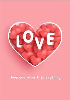 Cartões de dia dos namorados com palavra de amor e corações.