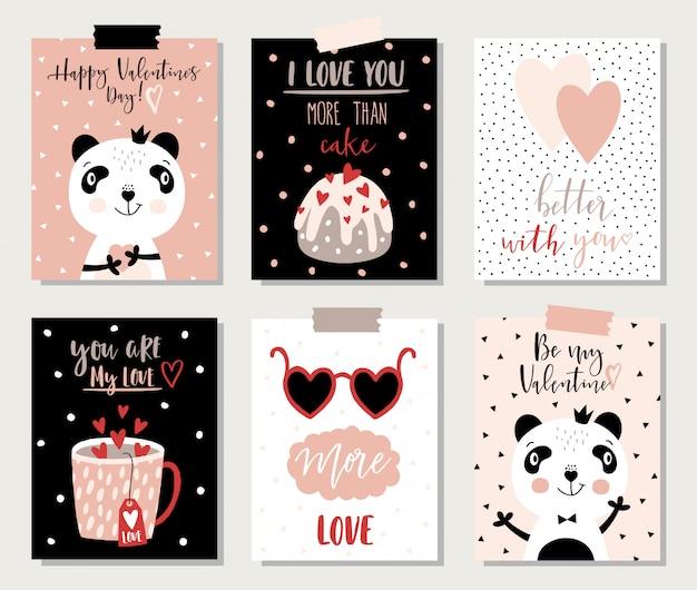 Cartões de dia dos namorados com panda e rotulação.