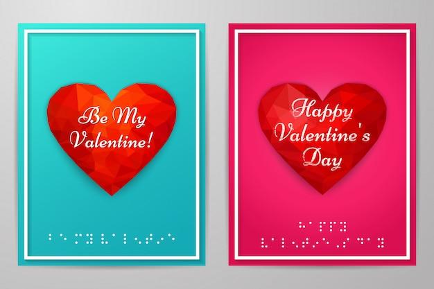 Cartões de dia dos namorados com texto em braille