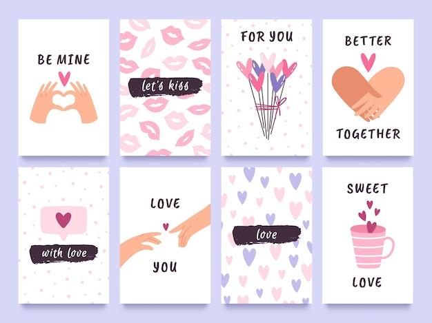 Cartões de dia dos namorados e impressões com mãos de casal, corações e beijos. tag do presente de amor bonito com citações. feliz dia dos namorados conjunto de vetor de design. cartões comemorativos de eventos românticos