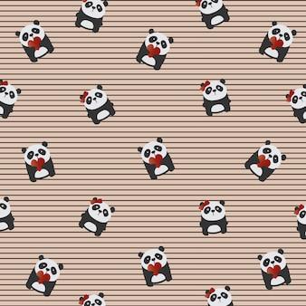 Cartões de dia dos namorados especial amor texturas de fundo com pandas gigantes