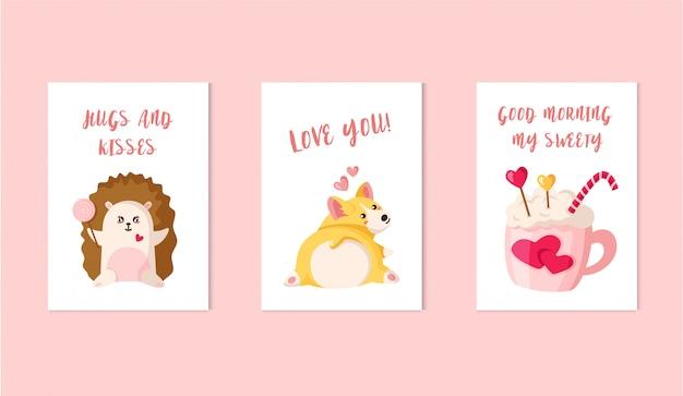 Cartões de dia dos namorados - filhote de cachorro de corgi dos desenhos animados, ouriço kawaii com pirulito, bebida, pirulito