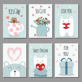 Cartões de dia dos namorados. ilustração em vetor.