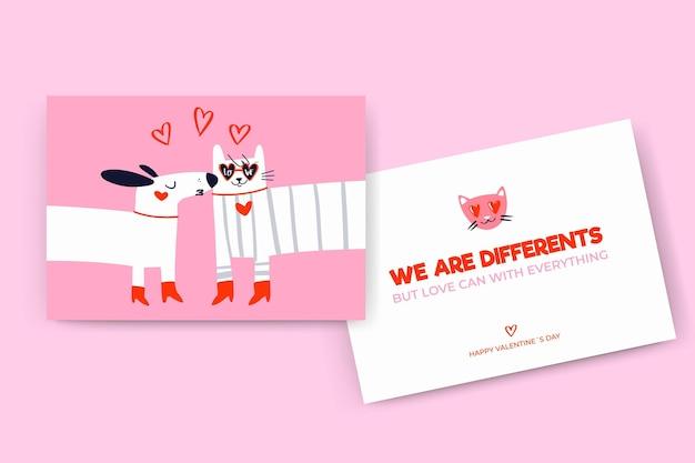 Cartões de dia dos namorados modernos desenhados à mão