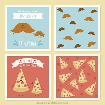 Cartões de dia dos pais com bigodes e pizza