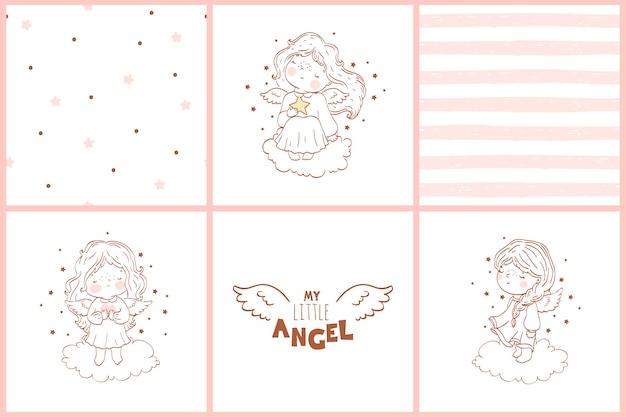 Cartões de doodle com anjos e coleção de padrões sem emenda