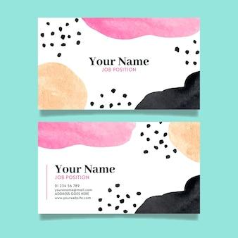 Cartões de empresa pintados à mão com formas abstratas