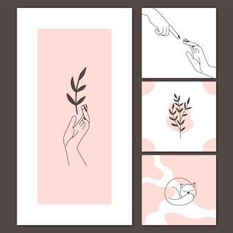 Cartões de estilo contemporâneo de gato fofo com sono e mãos femininas com ramos.