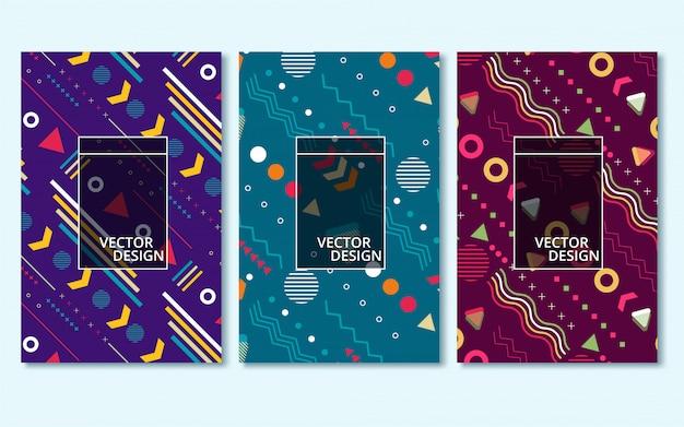 Cartões de estilo memphis coleção de modelos coloridos com formas geométricas.