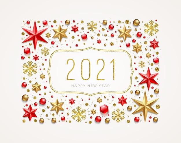 Cartões de felicitações de ano novo em moldura de decoração festiva