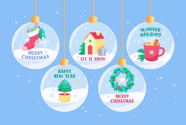 Cartões de felicitações para a temporada de inverno com tipografia em bolas de neve ou enfeites decorativos