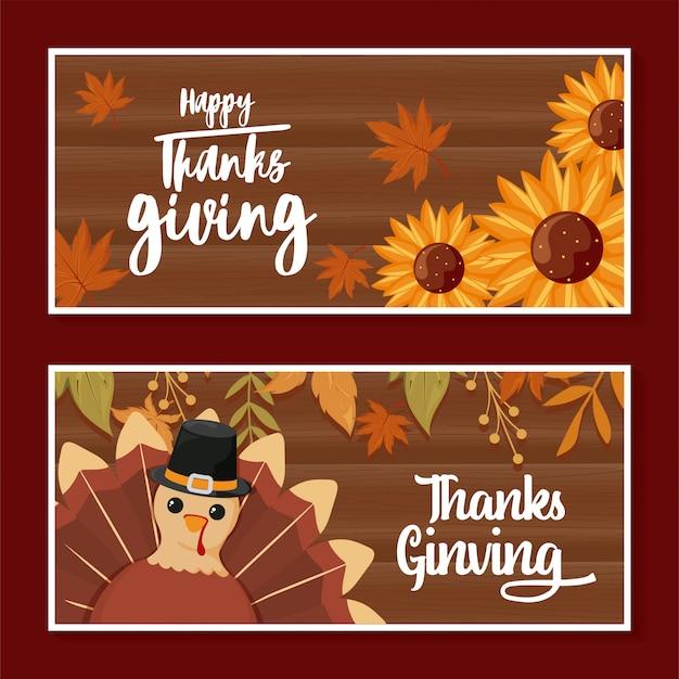 Cartões de feliz ação de graças e turquia dos desenhos animados
