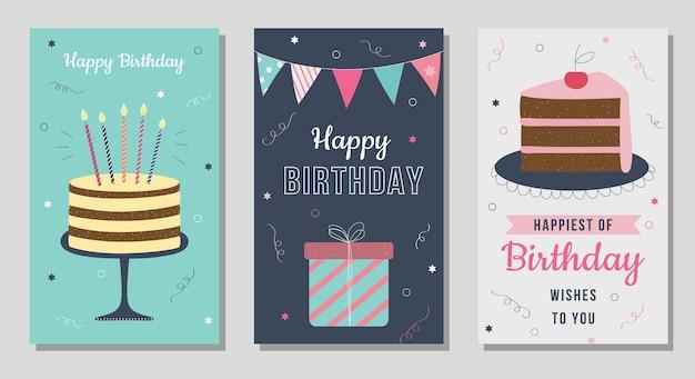 Cartões de feliz aniversário cartões postais de saudação