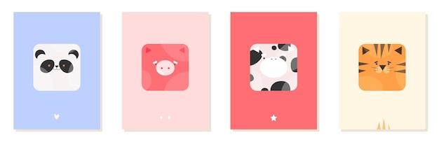 Cartões de feliz aniversário com animais fofos para crianças em estilo desenhado à mão