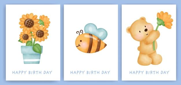 Cartões de feliz aniversário com urso bonito.