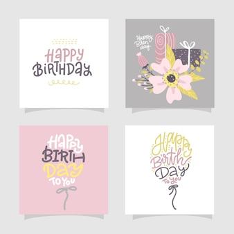 Cartões de feliz aniversário e modelos de convite para festa com letras