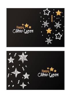 Cartões de feliz ano novo com estrelas de prata e ilustração de flocos de neve