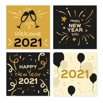 Cartões de feliz ano novo de 2021 com balões e fogos de artifício