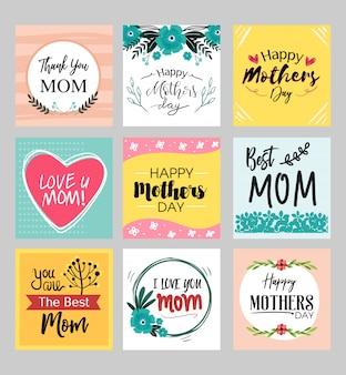 Cartões de feliz dia das mães conjunto com detalhe de flor fofo e cor pastel