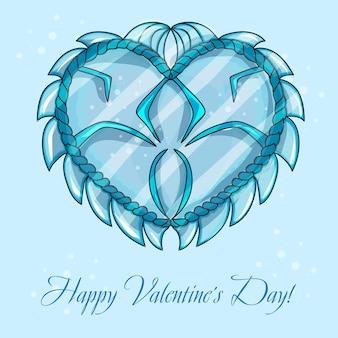 Cartões de feliz dia dos namorados com coração de gelo - vetor