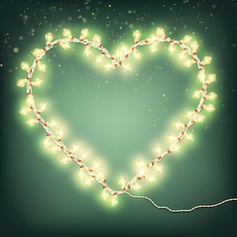Cartões de feliz dia dos namorados com luz garland.