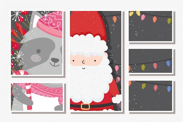 Cartões de feliz natal com papai noel e guaxinim