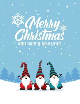 Cartões de feliz natal do gnome cartoon