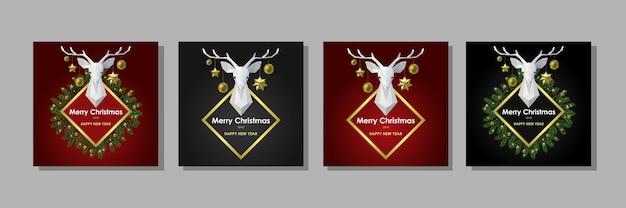 Cartões de feliz natal e feliz ano novo com cabeça de veado poligonal