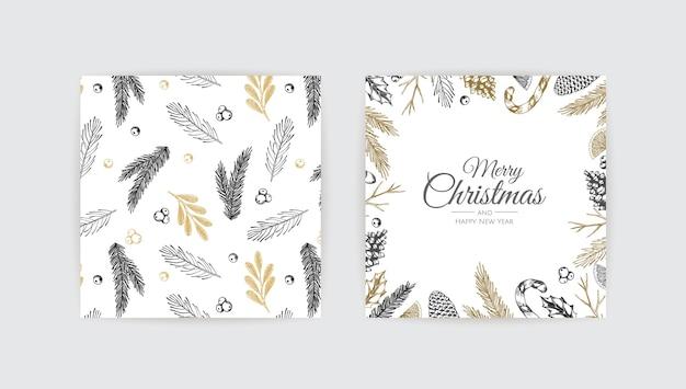 Cartões de feliz natal e feliz ano novo