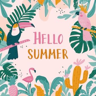 Cartões de férias de verão com tucanos, flamingos, papagaios, cactos, folhas exóticas em estilo moderno.