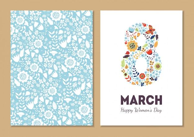 Cartões de férias florais vintage bonito 8 de março
