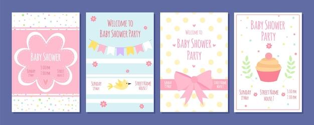 Cartões de festa do chá de bebê.