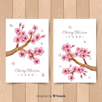 Cartões de flor de cerejeira
