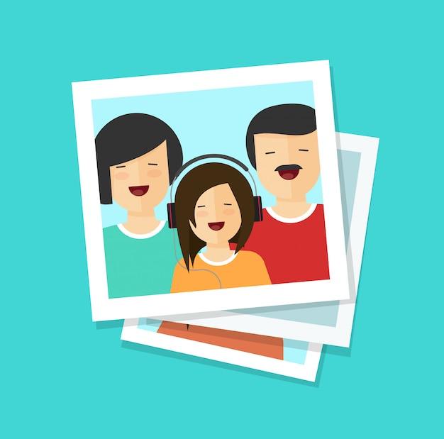Cartões de fotografias com família feliz cartoon plana