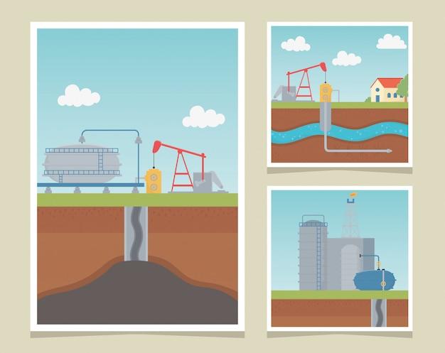 Cartões de fracking de exploração de processos da indústria de refinaria