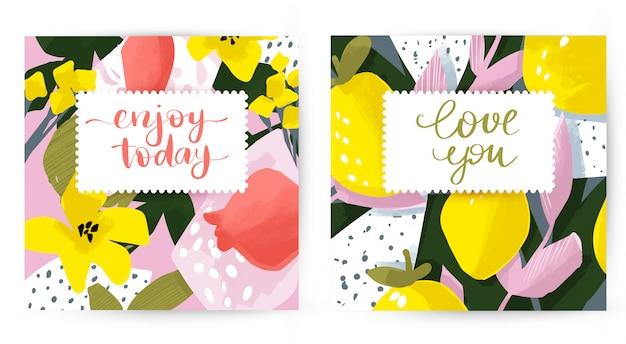 Cartões de giro do vetor com design floral e fruta. flores e folhas