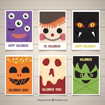 Cartões de halloween com caras de monstros