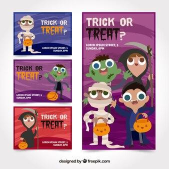 Cartões de halloween com crianças vestidas