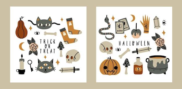 Cartões de halloween com fantasma de desenho animado, morcego, abóboras, gato, lua e estrelas. conjunto de rabiscos bonitos de halloween.