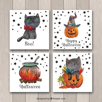 Cartões de halloween com gato bonito e aquarela de abóbora