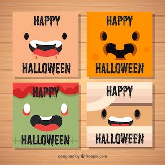 Cartões de halloween com monstros felizes
