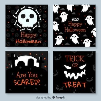 Cartões de halloween plana preto e branco