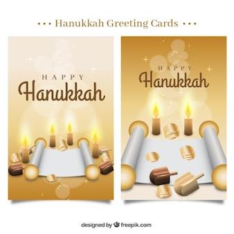 Cartões de hanukkah com moedas e pergaminhos