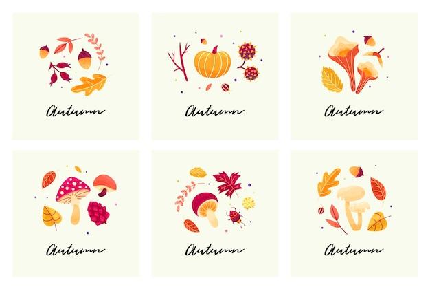 Cartões de humor de outono com composições de outono de folhas, cogumelos, galhos, besouros e sementes.