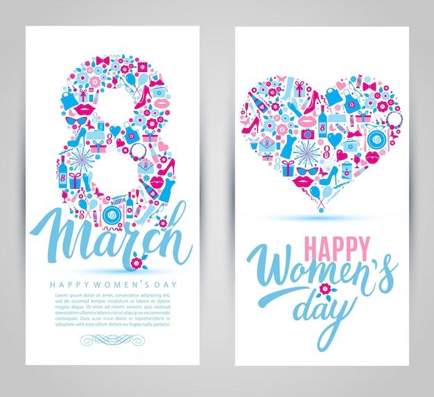 Cartões de ícones de 8 de março.